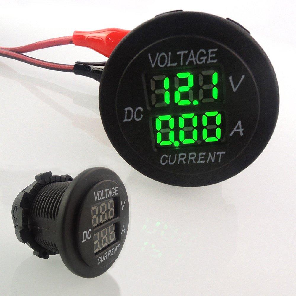 uniquegoods Digital Multimeter Voltmeter Socket for Boat Marine Vehicle Motorcycle Truck ATV UTV Car Camper LED Round Panel Green