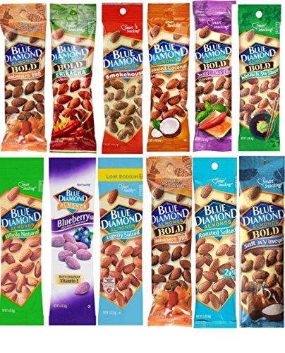 Blue Diamond Almonds 1.5 oz pouches 12 Flavor Variety Pack ()
