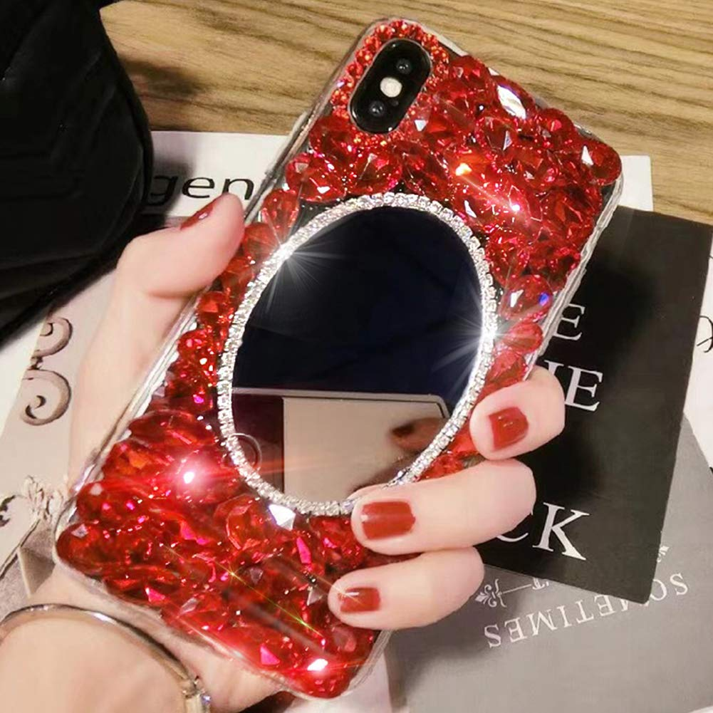 3D Crystal Handmade Case for iPhone XR 6.1,Aoucase Luxury Beauty Bling Crystal Rhinestone Diamond Glitter Mirror Makeup Hard PC Case with Black Dual-use Stylus,Green