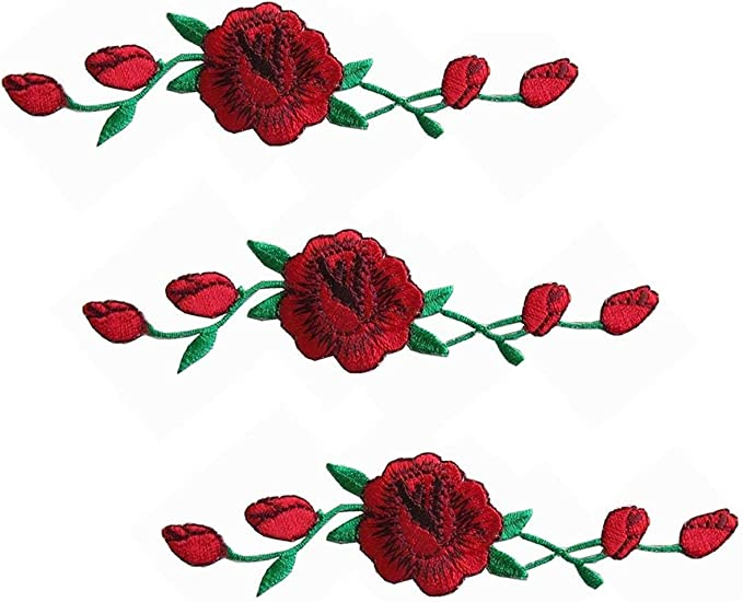24pcs rose flower embroidered fabric Iron-on or Sew-on patch badges Mixed colors
