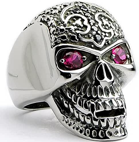 Casted Stainless Steel Skull Ring with Black CZ Fleur De Lis and Red Eyes CZ Size 9 to 14