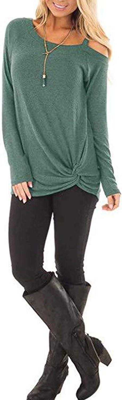 Naivikid Womens Twist Knot Casual Crewneck Long Sleeve T Shirts Tunic Tops S-XXL