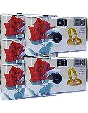 "5x Photo Porst trouwcamera / wegwerpcamera ""rode roos + ringen"""