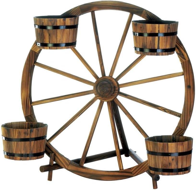 Cute Planter, Wagon Wheel Barrel Decorative Rustic Patio Garden Planter Outdoor