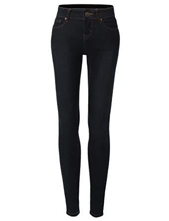 LE3NO Womens Premium High Waisted Skinny Jean Pants with Stretch ...
