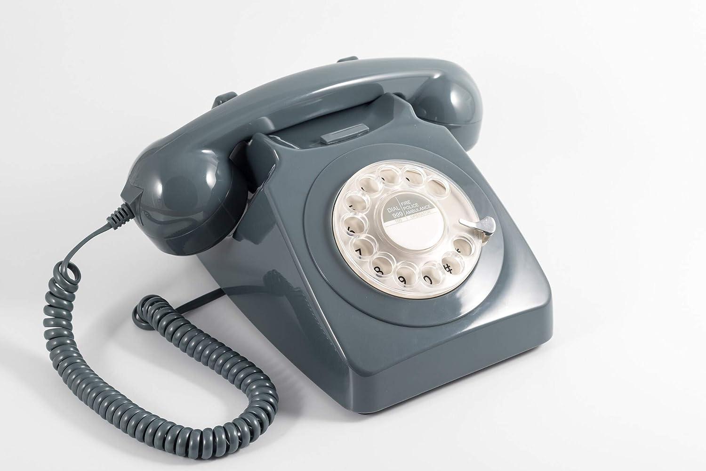 GPO 746 Teléfono fijo de disco con estilo retro de los años 70 - Cable en espiral, Timbre auténtico - Gris