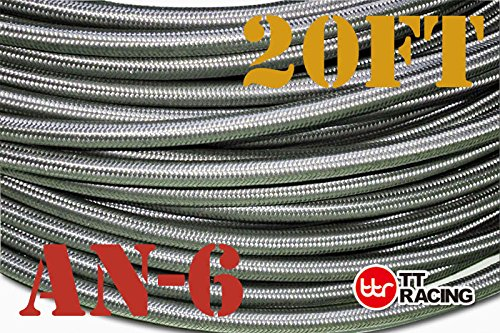 6 AN-6 AN6 Stainless Steel Braided Fuel Gas Oil Line Hose 20FT + Swivel Black Fitting Kit