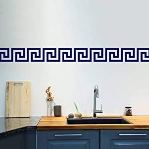 """Littledollz Greek Key Wall Stickers Set of 50 Greek Pattern Wall Pattern Wall Decals Wall Border Geometric Pattern Home Decor Mediterranean 5.9"""" H"""
