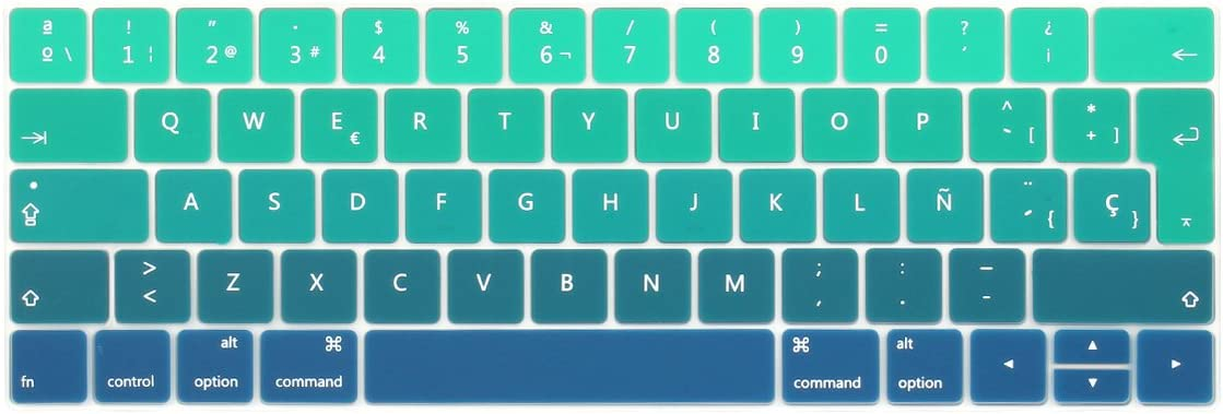 Batianda Spanish ESP Ombre Color Ultrathin Waterproof Silicone Keyboard Cover Skin for Newest MacBook Pro 13 15 inch 2019 2018 2017 & 2016 with Touch Bar Model:A2159 A1706 / A1707 (Green Gradient)