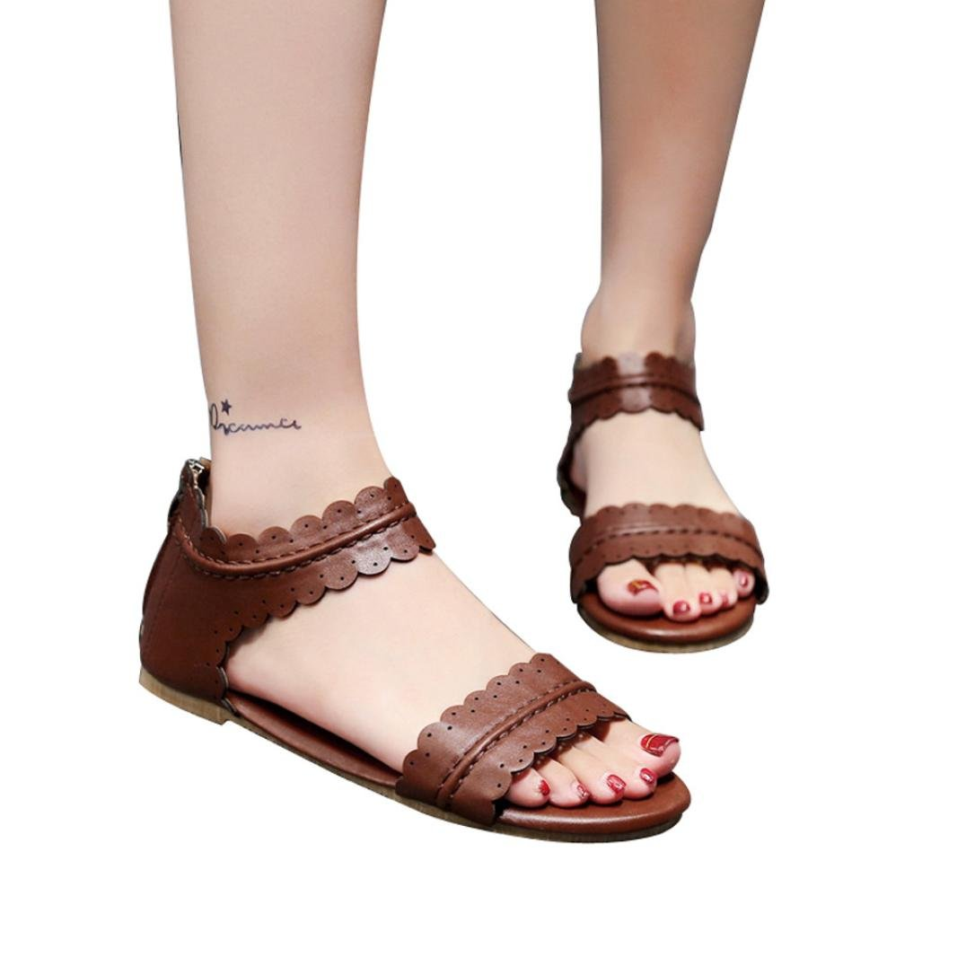 vermers Hot Sale Rome Shoes for Women - Solid Ruffles Round Toe Flat Cover Heel Zipper Sandals(US:8, Coffee) by vermers
