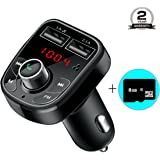 Bluetooth FM Transmitter for Car, Bluetooth FM Radio Adapter Car Kit + 8G TF Card, Car Charger with Dual USB Charging Ports, Hands-free Calling for Smartphone by LTS Future - Black