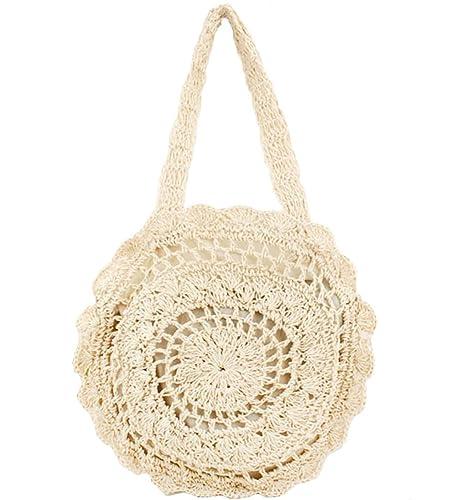 bb7e7c89ca FiveloveTwo Womens Ladies Lightweight Handmade Handbag Large Crochet  Shoulder Summer Bag Straw Beach Shopper Clutch Top Handle Tote Bags and Purse  Beige  ...