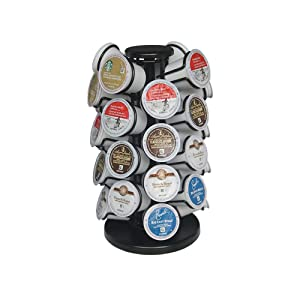 K-32 Cup Carousel,K Cup Holder,Coffee Pod Holder Carousel Holds 32 Single Cup Coffee Pods in Matte Black (Capacity of 32 pods)