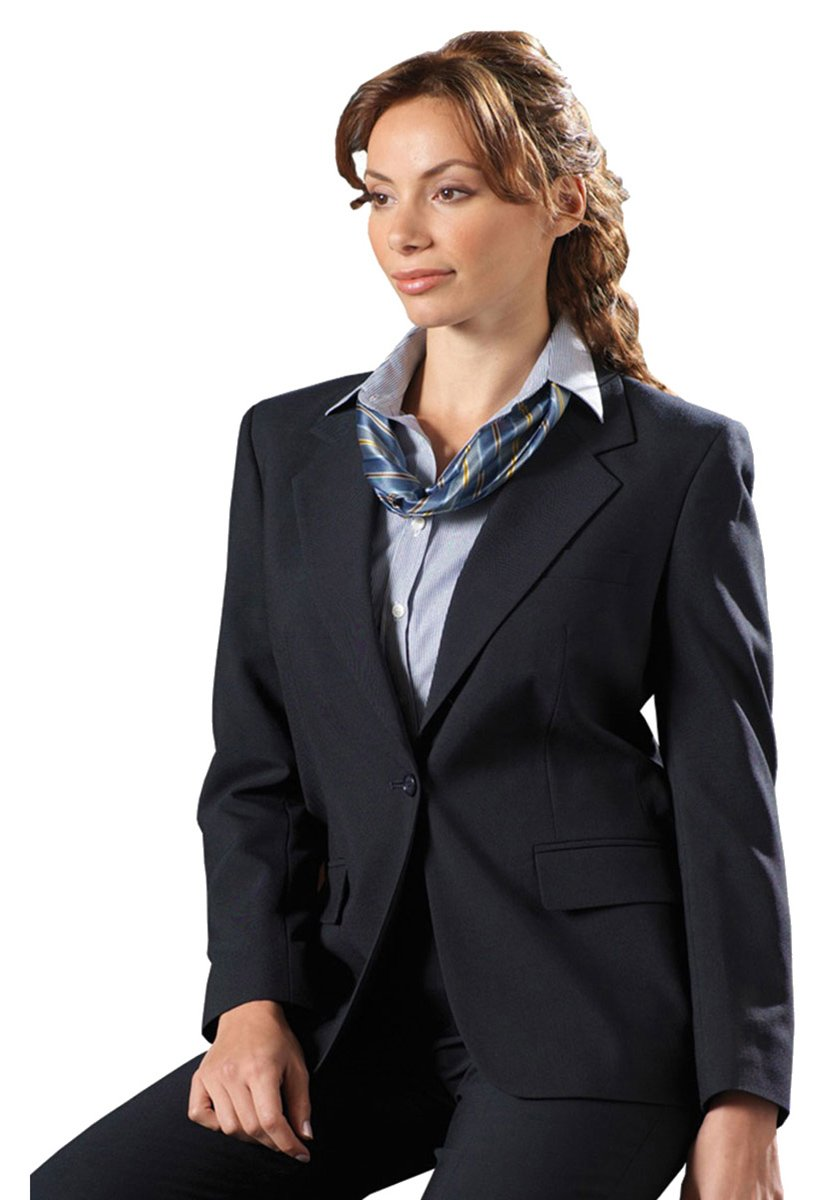 Edwards Garment Women's Classic One Button Single Breasted Coat_Navy_8 T by Edwards Garment