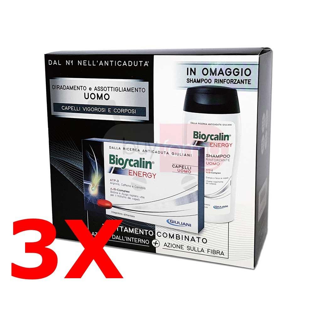 Offerta Bioscalin Energy - 3X Integratore da 30 Cpr (90 compresse totali) + 3X Shampoo da 200ml IN OMAGGIO GIULIANI