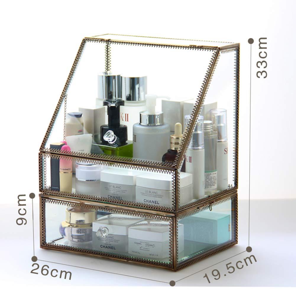 Caja Vidrio Estante de maquillajes Maquillaje Cosméticos ...