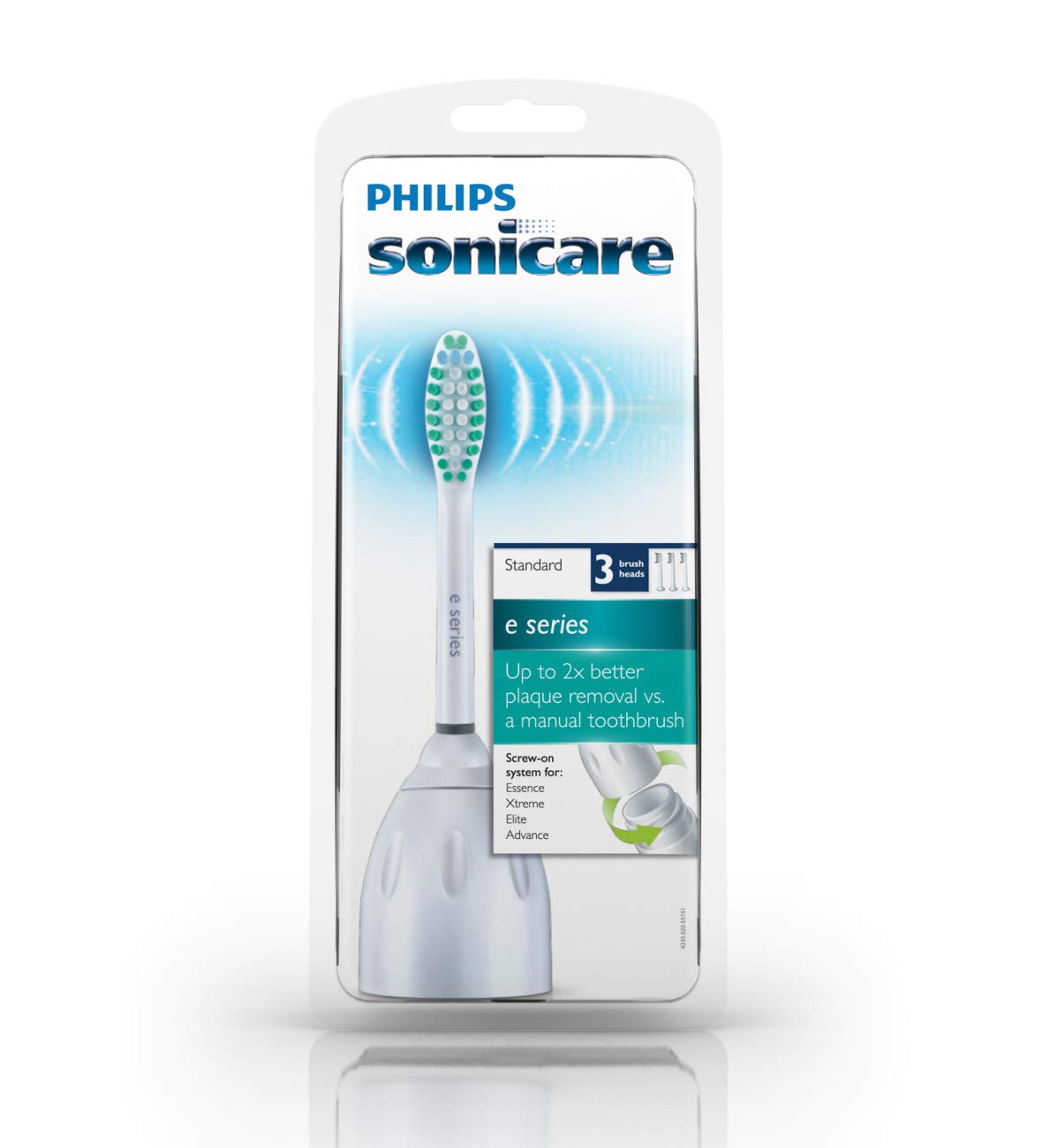 Genuine Philips Sonicare E-Series replacement toothbrush heads, HX7023/30, 3 Count by Philips Sonicare