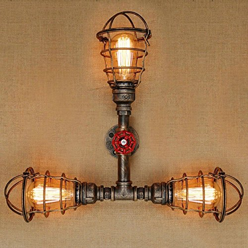 HOMEE Wall lamp- american village retro nostalgic industrial wind wall lamp aisle bedroom creative bedside bar wall lamp (multiple styles available) --wall lighting decorations,3-HEAD by HOMEE
