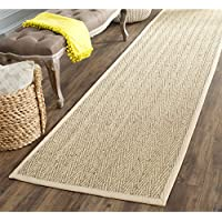 Safavieh Natural Fiber Collection NF115A Herringbone Natural and Beige Seagrass Runner (26 x 12)