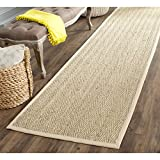 Safavieh Natural Fiber Collection NF115A Herringbone Natural and Beige Seagrass Runner (2'6'' x 22')