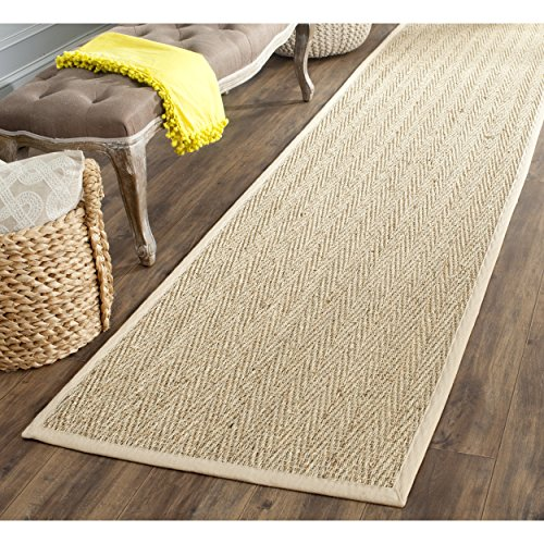 Safavieh Natural Fiber Collection NF115A Herringbone Natural and Beige Seagrass Runner (2'6'' x 22') by Safavieh