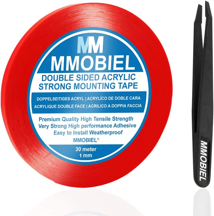 MMOBIEL 1 mm Double Sided Layer Acrylic Strong AdhesiveMountingTape30m Long Weatherproof Removable