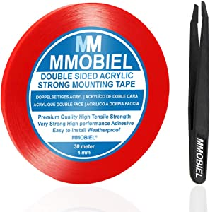 MMOBIEL 1 mm Double Sided Layer Acrylic Strong Adhesive Mounting Tape 30m Long Weatherproof Removable