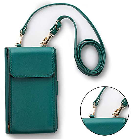47d9877dbab Sunroyal Real Leather Crossbody Cell Phone Case Multipurpose Flip Cover  Shoulder Bag with Detachable Strap Girls Cute Mini Purse Pockets for iPhone  ...