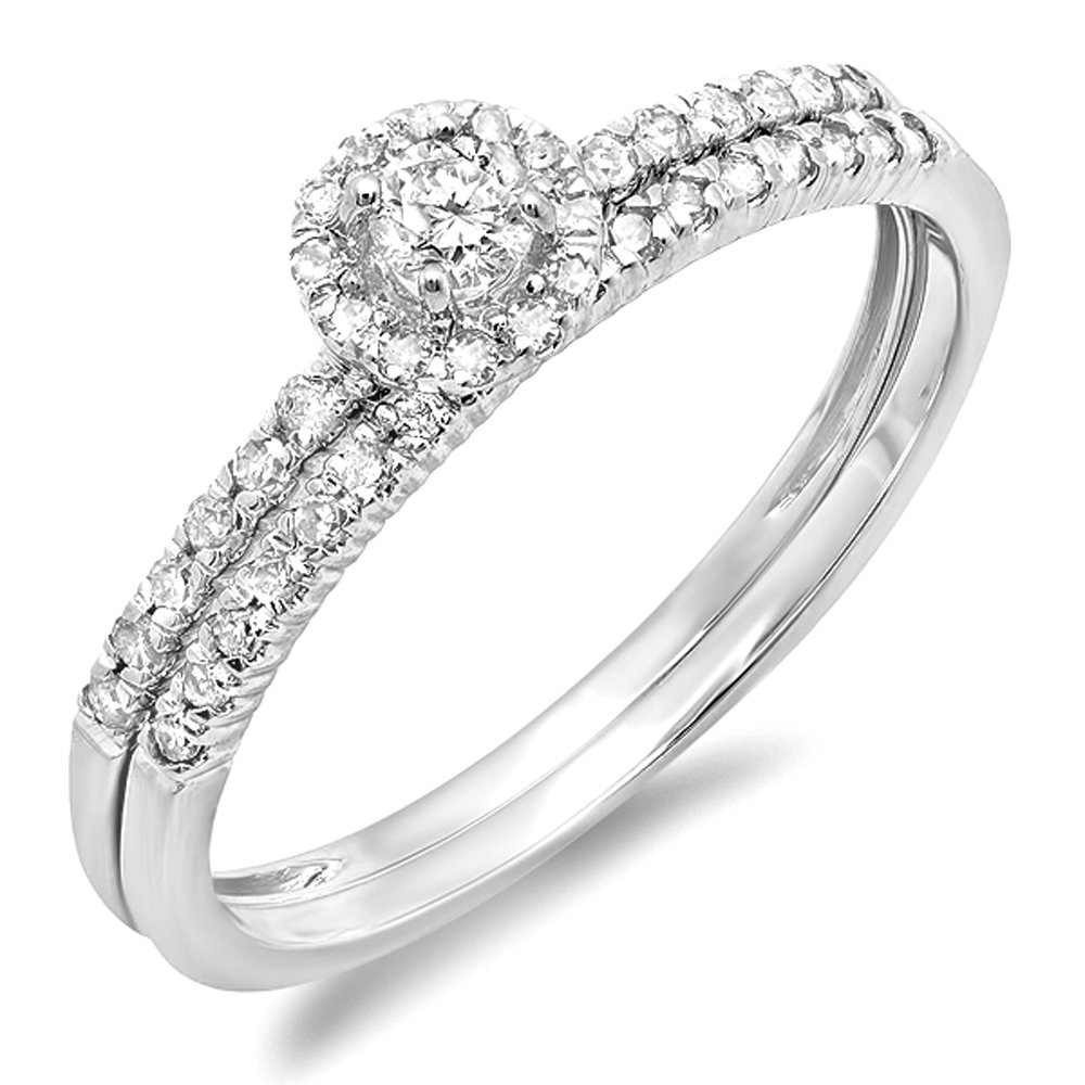0.33 Carat (ctw) 14k White Gold Round Diamond Ladies Halo Style Bridal Engagement Ring Matching Band Set 1/3 CT (Size 7.5) by DazzlingRock Collection