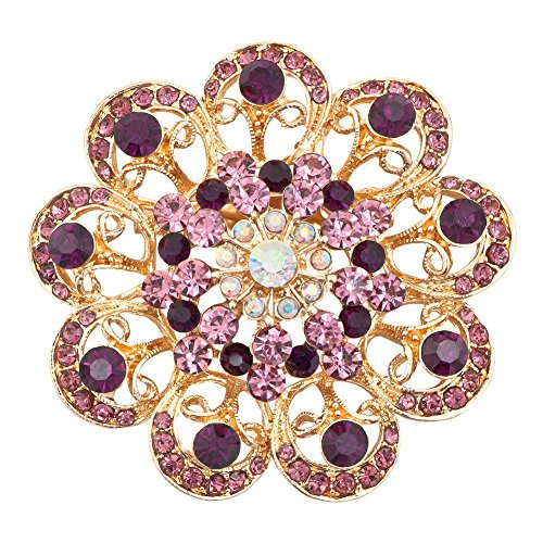 (JewelryHouse Vintage Fancy Gold Plated Cute Sun Flower Imitation Crystal Brooches and Pins (Purple))