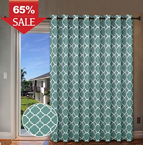 Sliding Divider (H.Versailtex Thermal Insulated Room Divider / Quatrefoil Pattern Blackout Patio Curtains,Antique Grommet Sliding Door Curtain for Large Window, W100 x L84 inch-Teal)