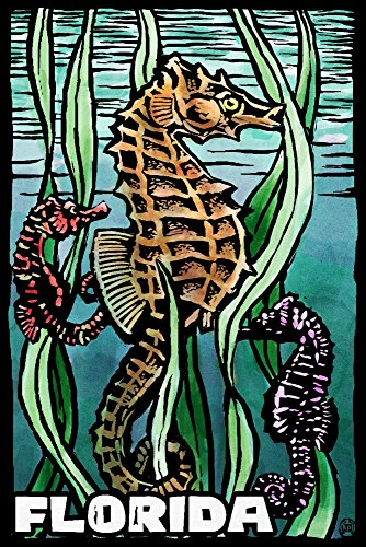Florida - Seahorse - Scratchboard (36x54 Giclee Gallery Print, Wall Decor Travel ()