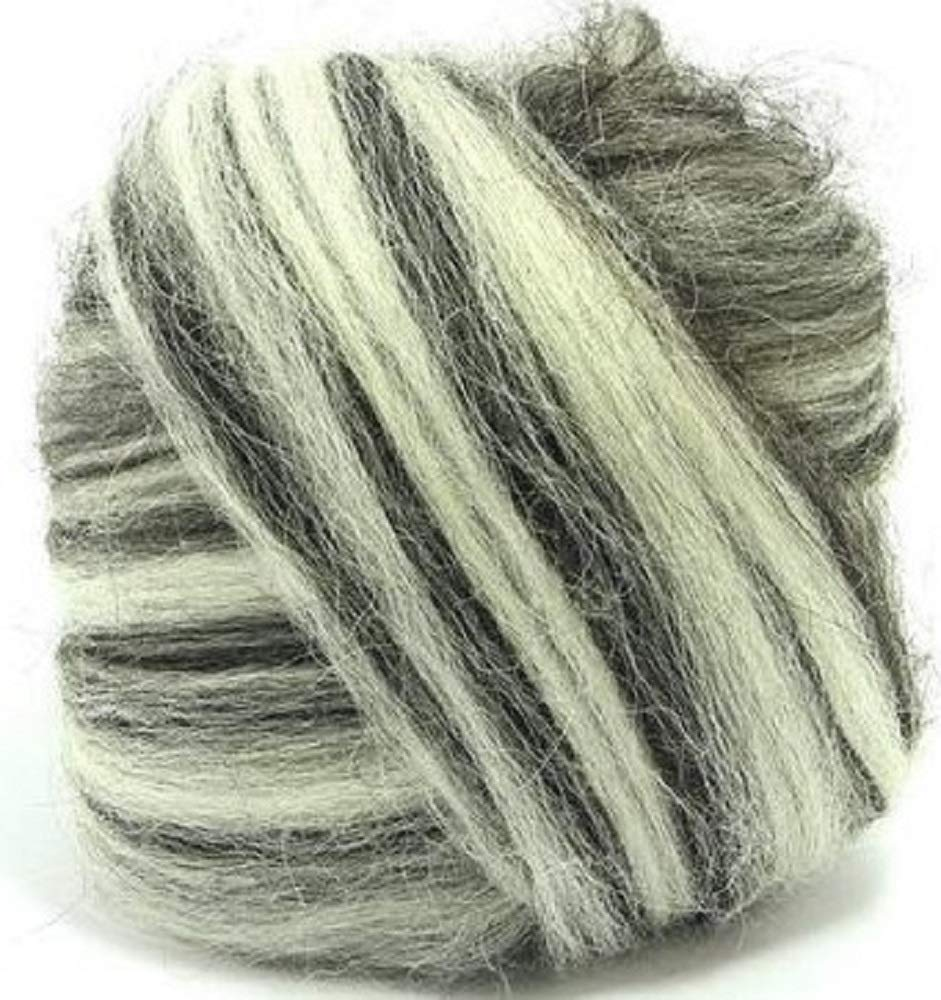 4 oz Paradise Fibers Icelandic Wool Top Humbug Blend Perfect for Woolen Yarn /& Needle Felting