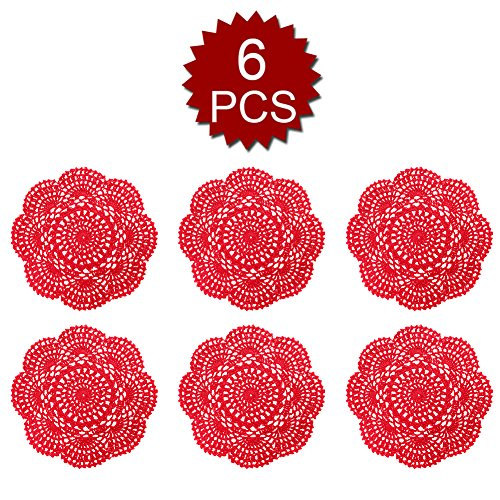 Aspire 8 inches 6pcs / Set Handmade Crochet Lace Round Tablecloths Cotton Hollow Decorative - Red Doily