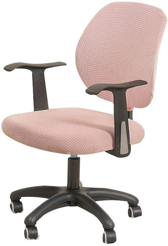 FORCHEER Office Chair Cover 2 PCS Set Water Resistant Pink Stretch Jacquard Computer Chair Slipcover for Armrest Game Chairs