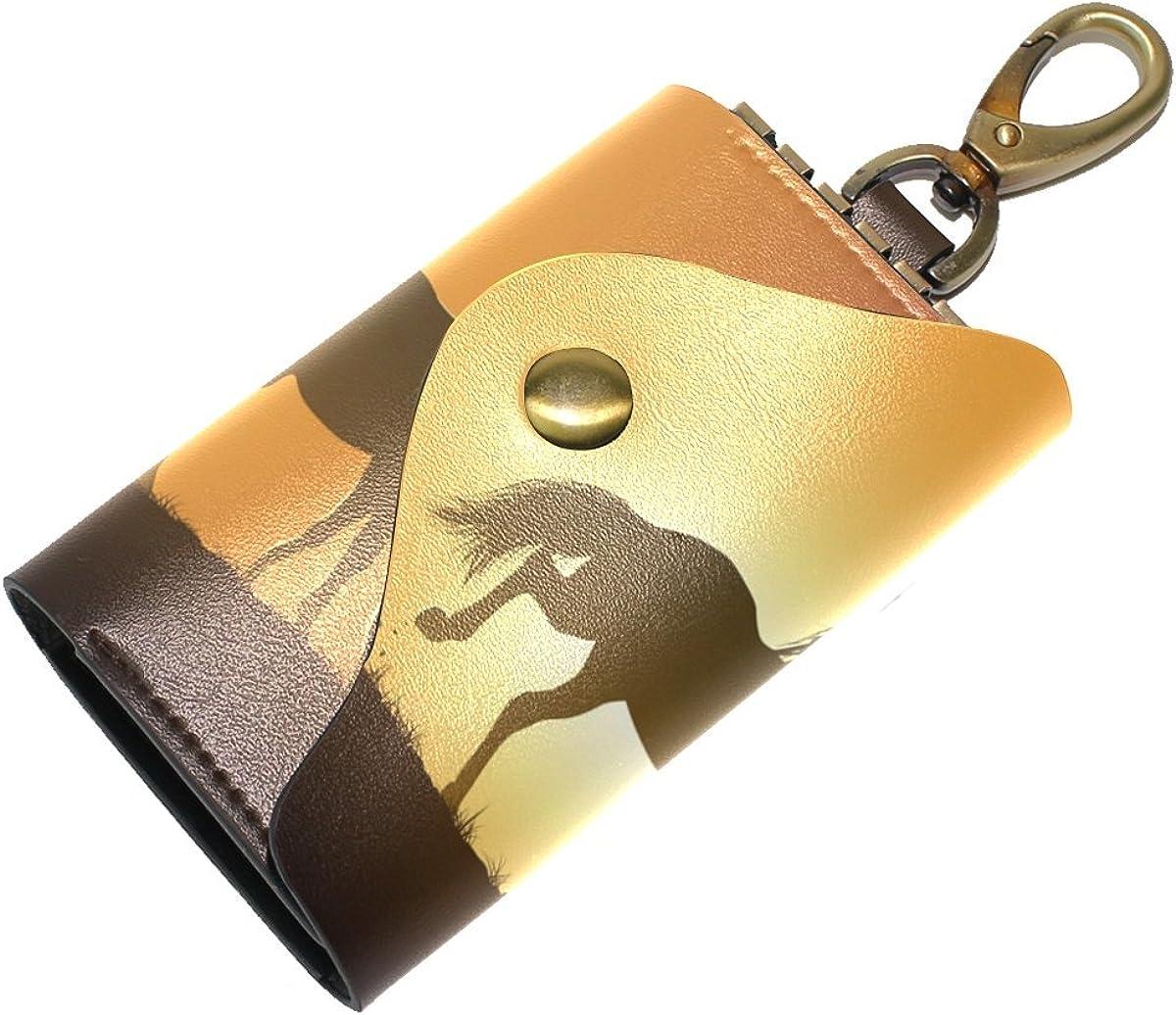 DEYYA Arabian Horse Leather Key Case Wallets Unisex Keychain Key Holder with 6 Hooks Snap Closure