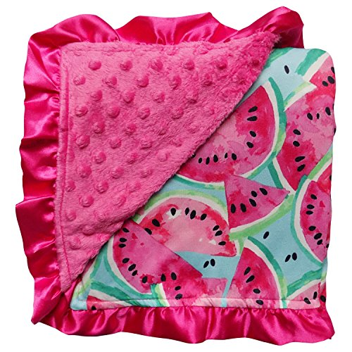 Pink Watermelon Baby Blanket with Satin Trim