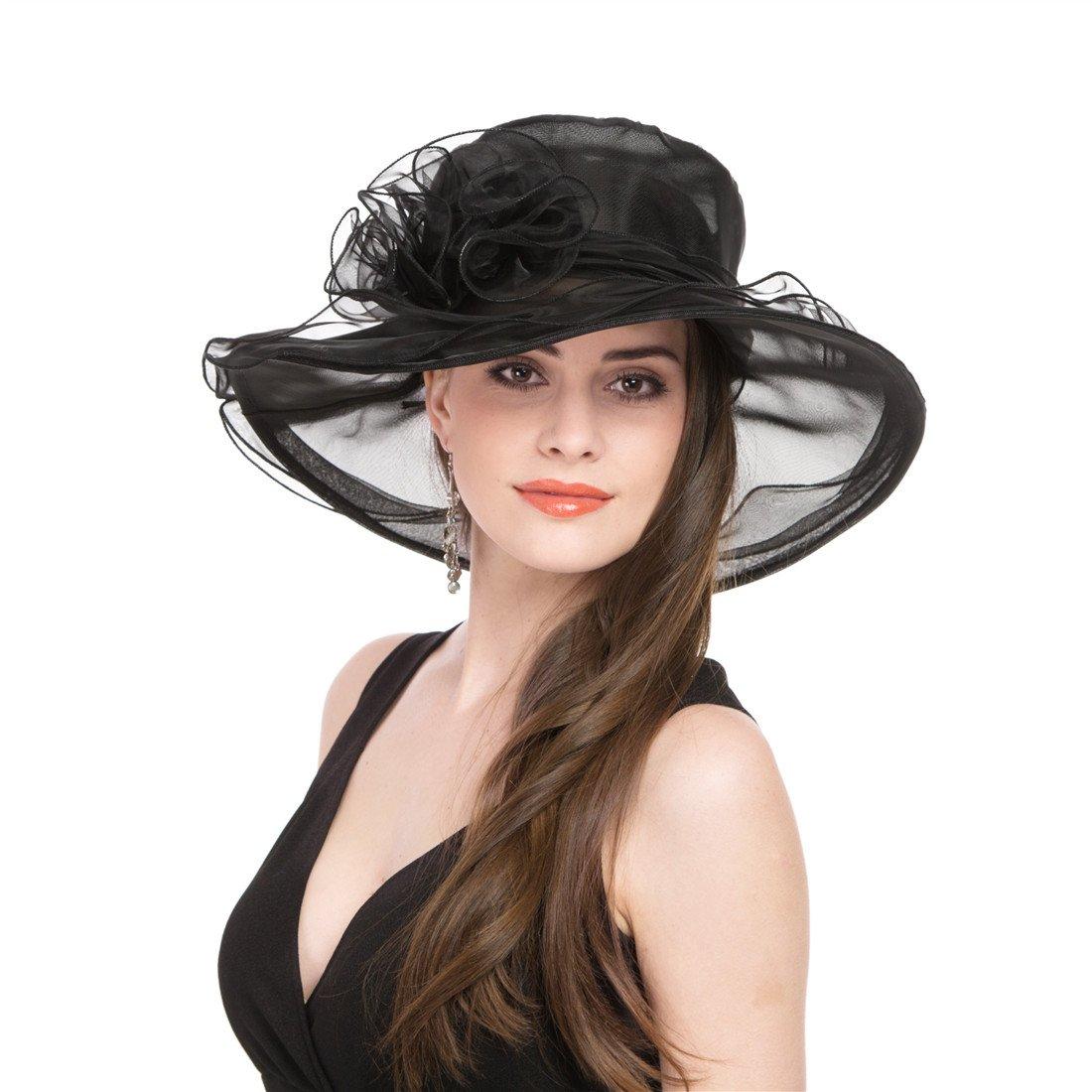 07ac013a737 SAFERIN Women s Organza Church Kentucky Derby Fascinator Bridal Tea Party  Wedding Hat (1-Black) at Amazon Women s Clothing store