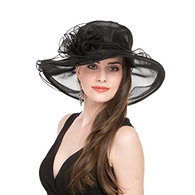 4be5b312 Lucky Leaf Women Kentucky Derby Church Cap Wide Brim Summer Sun Hat for  Party Wedding (