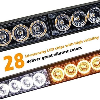 SMALLFATW 32 Inch 28 LED Emergency Warning Light Bar Flash Strobe Light Bar Universal Vehicles Trucks Traffic Advisor Light with Cigar Lighter and Suction Cups (Amber/White): Automotive