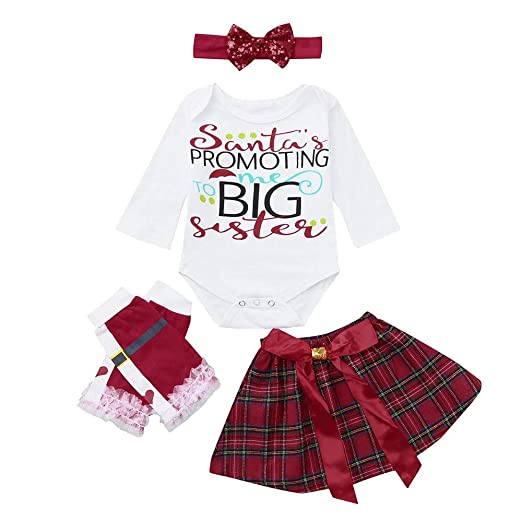 3b985d105305 Amazon.com  ❤ Mealeaf ❤ Toddler Outfits Newborn Baby Girls Christmas Romper  + Bow Skirt + Leg Warmer + Headbands Clothes Set 0-3t  Clothing