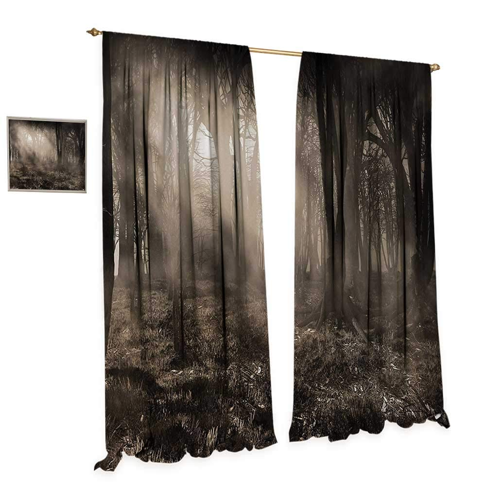 Anniutwo Gothic Waterproof Window Curtain Photo of Dark Forest Scenery with Sunbeams and Fog Vintage Nostalgic Colors Fantasy Art Blackout Draperies for Bedroom W96 x L84 Brown