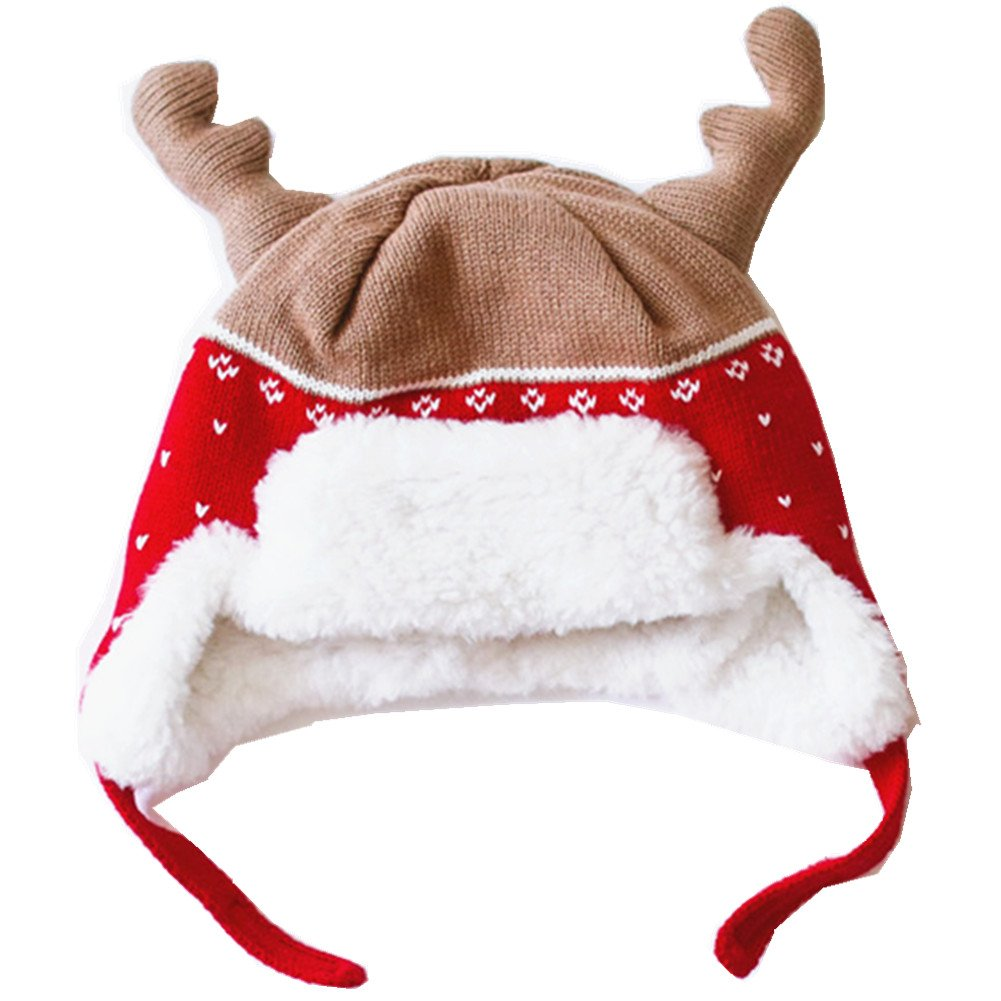BESTERY Kid's Winter Caps Cotton Knitted Hats with Earflaps Christmas Best Gift