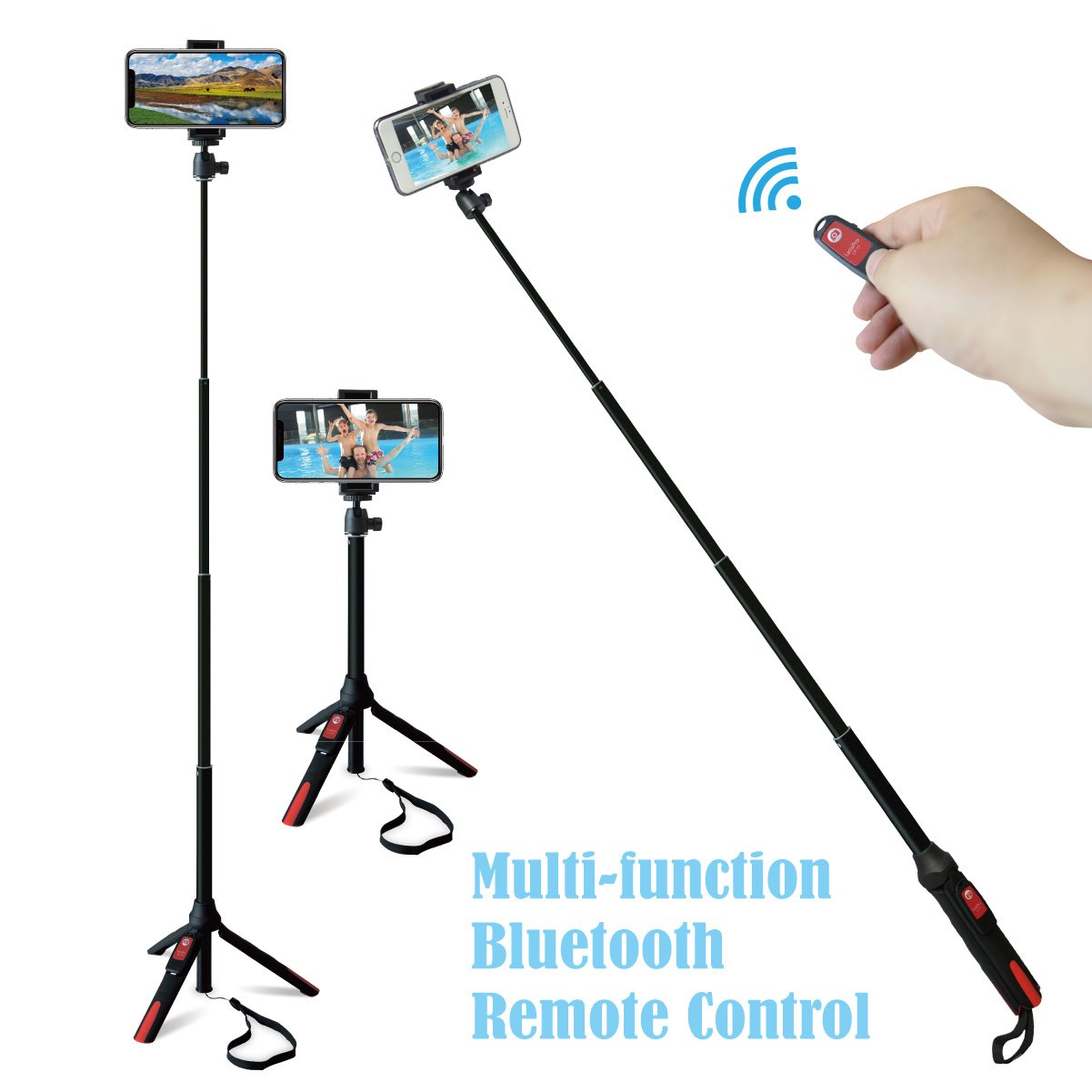 Selfie Stick Tripod with Bluetooth Wireless Remote for iPhone x 8 6 7 plus Android Samsung Galaxy S7 S8 Plus Edge Extendable Monopod Aluminum Alloy 360 Degree Rotation
