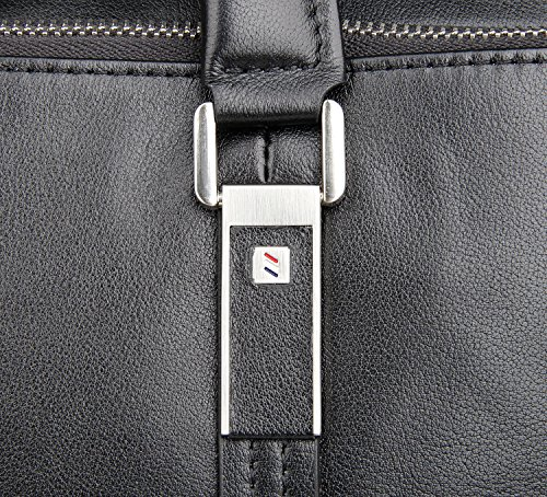 LXFF Men's Calfskin Leather Business Briefcase Bag 14 or 15 Inch Laptop Tote Bag Black by LXFF (Image #6)