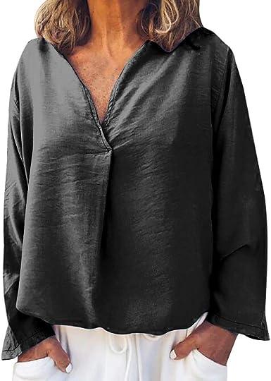 ZORE🌞 Camisas de Manga Larga para Mujer Camisa de Jersey de Poliéster con Cuello en V Suelto y Plisado de Color Sólido (EU:38, Gris): Amazon.es: Ropa y accesorios