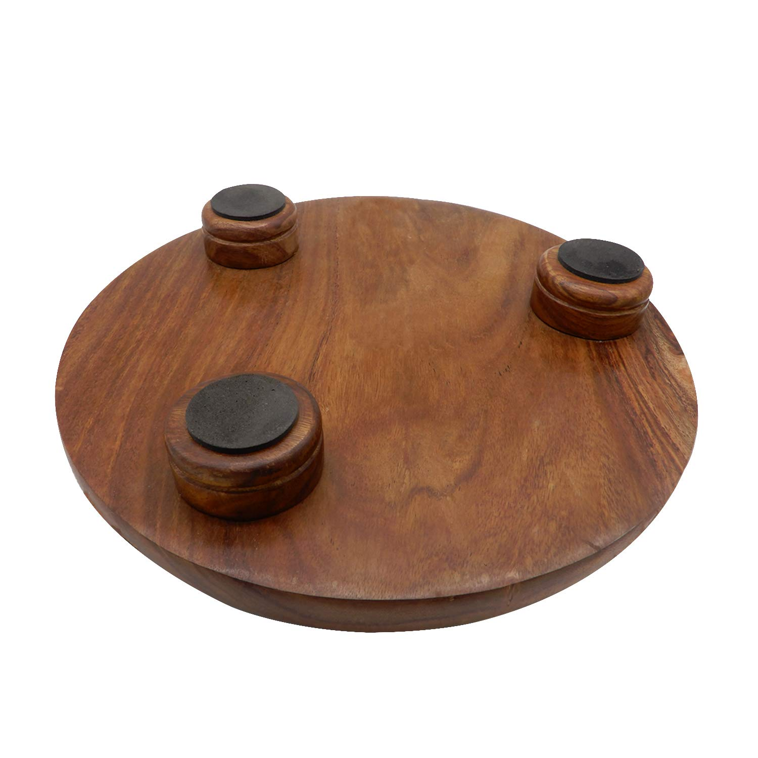 WhopperIndia Handmade Wooden Round Roti Maker Rolling Board with Rolling Pin 27.94 cm