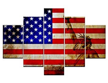 rustic american flag decor in its country s outline wall art painting picture usa map print on
