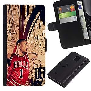 Stuss Case / Funda Carcasa PU de Cuero - Chic Bull 1 Baloncesto - Samsung Galaxy Note 4 IV