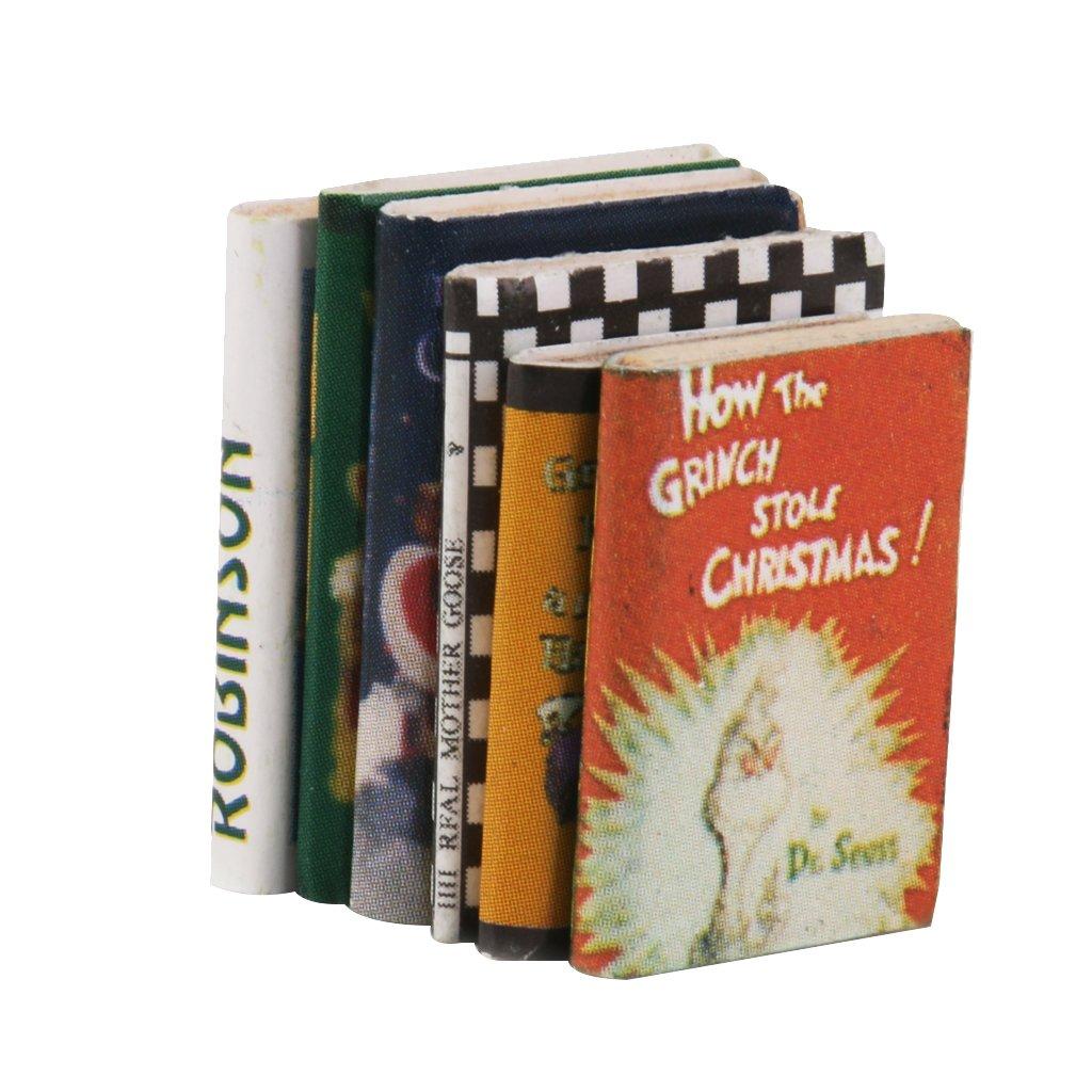 1/12 Miniature Dollhouse 6pcs Books Colorful MagiDeal